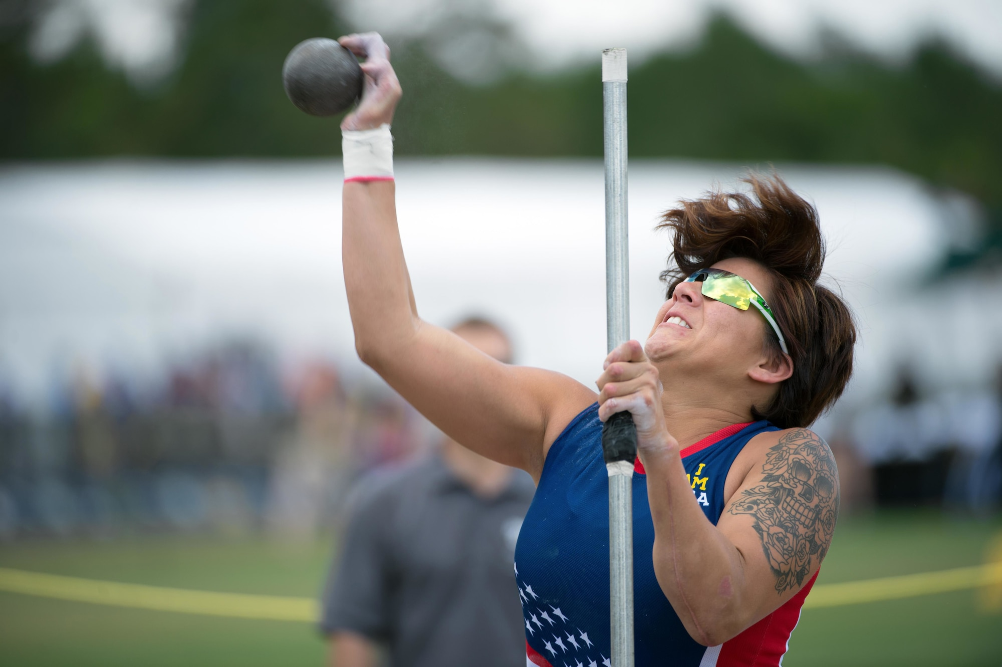 Staff Sgt. Sebastiana Lopez Arellano, a member of the U.S. team, competes in the shotput event during the 2016 Invictus Games in Orlando, Fla., May 10, 2016. Lopez lost her right leg and suffered several other injuries in a motorcycle crash in 2015. She now uses sports and fitness as part of her physical and occupational therapy regimen. (Defense Department photo/EJ Hersom)