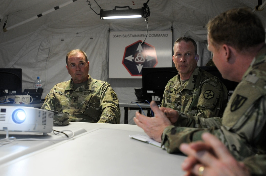 Maj. Gen. Duane A. Gamble, the commander of the 21st Theater Sustainment  Command, and Brig. Gen. Gregory J. Mosser, commander of the 364th Expeditionary Sustainment Command, brief Lt. Gen. Ben Hodges, commander of U.S. Army Europe, regarding the successes and results of Anakonda 2016, June 9 in Warsaw, Poland. Anakonda 2016 is one of U.S. Army Europe's premier multinational training events, which features 24 nations and seeks to train, exercise and integrate Polish national command and force structures into an allied, joint, multinational environment.