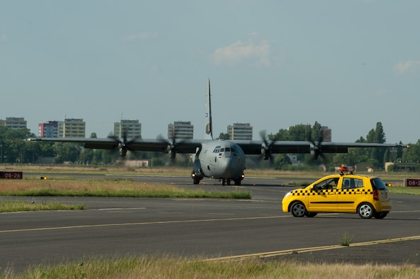 A C-130J Super Hercules from Dyess Air Force Base, Texas, taxies after landing at Bydgoszcz Airport, Poland, during exercise Swift Response 16 on June 8, 2016. The exercise is one of the premier military crisis response training events for multinational airborne forces in the world. This year, it had more than 5,000 participants from 10 NATO nations. (U.S. Air Force photo/Master Sgt. Joseph Swafford)