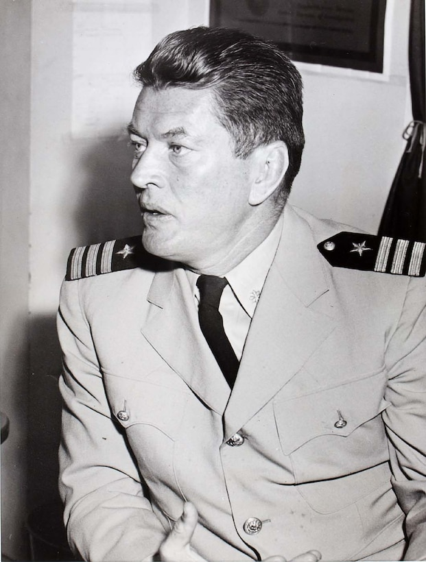 Former world heavyweight boxing champion Gene Tunney, a US Marine Corps veteran of World War I, served the nation again in World War II as a naval officer helping the Navy's physical fitness program.  He was an early distinguished visitor at Portland Army Air Base.  He is pictured here as a Commander in the U.S. Naval Reserve circa 1944. (Smithsonian American Art Museum Collection)