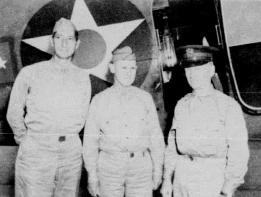 Portland received many VIP visitors in its early days as an air base.  Pictured here from left to right are US Army officers Brigadier General Mark W. Clark, Assistant Chief of Staff (G-3), GHQ, US Army; Colonel Joseph L. Stromme, Portland AAB commander, and Lieutenant General Leslie J. McNair, Chief of Staff of GHQ, US Army.  Note the general officer insignia on the transport aircraft behind them.  (U.S. Air Force photo)
