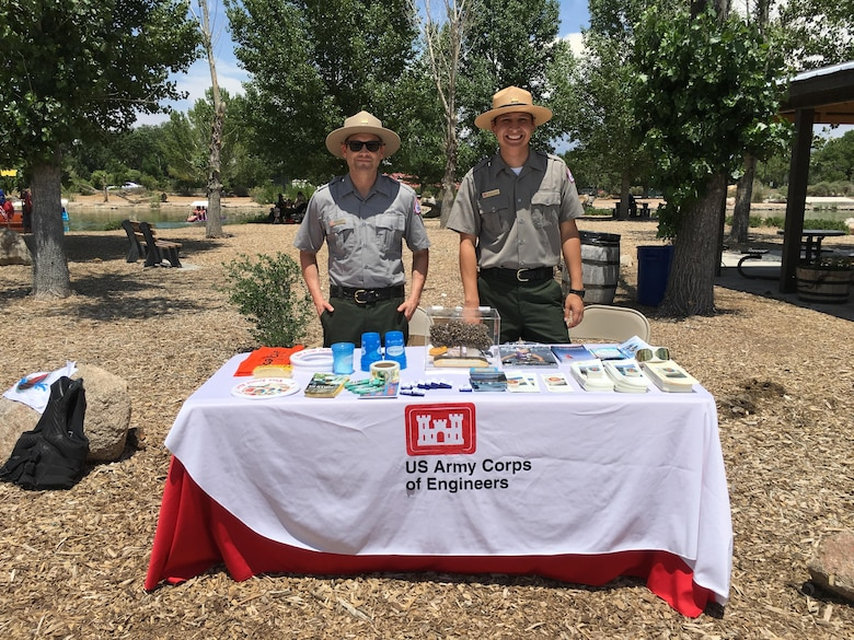 ALBUQUERQUE, N.M. -- Natural Resource Management Specialists Andrew Wastell (left) and Francisco Salazar represented the Albuquerque District at the National Get Outdoors Day event at Tingly beach, June 11, 2016.