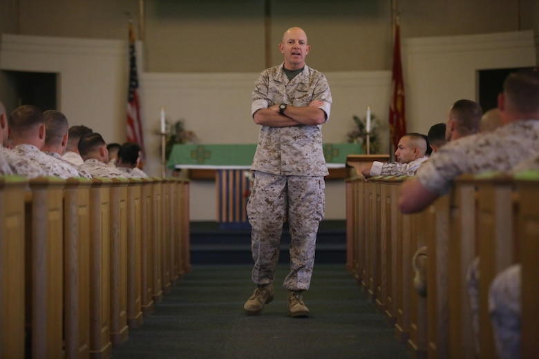 """MARINE CORPS BASE CAMP PENDLETON, Calif. – Lt. Gen. David Berger, the commanding general of I Marine Expeditionary Force, addresses the audience at integration education training at the Marine Memorial Chapel June 7, 2016. The training highlighted the placement of female Marines into previously closed combat arms occupations and units. """"It's about managing the whole population of the Marine Corps to make sure that as a warfighting organization, we're moving people to the right assignments,"""" Berger said. (U.S. Marine Corps photo by Lance Cpl. Shellie Hall/ Released)"""