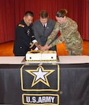 Defense Logistics Agency Aviation celebrated the Army's 241st Birthday June 15, 2016 in the Center Restaurant on Defense Supply Center Richmond, Virginia.  Pictured cutting the cake are: Army Maj. Alex Shimabukuro, event master of ceremonies, left; Paul Hughes, deputy director DLA Aviation Customer Operations and guest speaker, center; and Army Spec. Jessica Williams, Fort Lee, Virginia 392nd Army Band member and the youngest Soldier present, right.