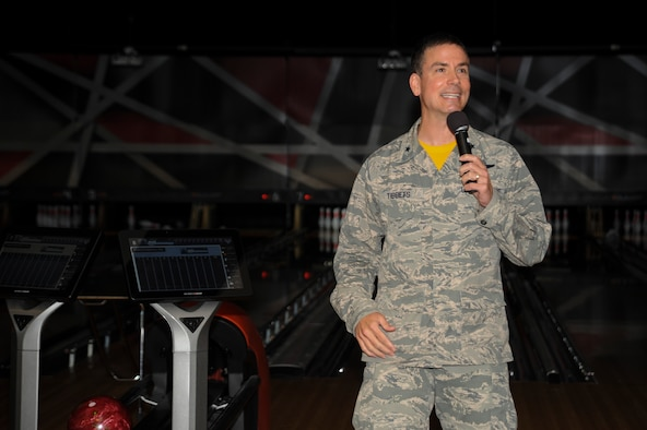 U.S. Air Force Brig. Gen. Paul W. Tibbets IV, the commander of the 509th Bomb Wing, speaks during the Stars and Strikes Bowling Center grand opening at Whiteman Air Force Base, Mo., June 10, 2016. Tibbets had the honor of rolling the ceremonious first bowling ball to signify the opening of the facility. (U.S. Air Force photo by Senior Airman Danielle Quilla)