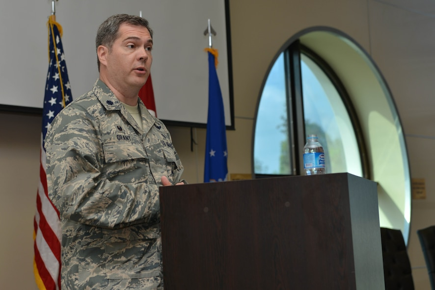 U.S. Air Force Lt. Col. Robert Grant, 39th Operations Support Squadron incoming commander, speaks during a change of command ceremony June 16, 2016, at Incirlik Air Base, Turkey. Prior to taking command, Grant served as the chief of the commander's action group, 3rd Air Force and 17th Expeditionary Air Force, Ramstein Air Base, Germany. (U.S. Air Force photo by Senior Airman John Nieves Camacho/Released)