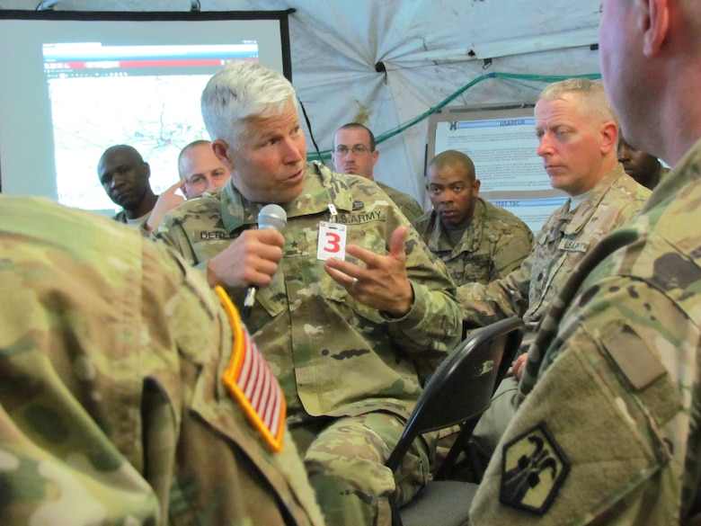Brig. Gen. Arlan DeBlieck, commanding general of the 7th Mission Support Command and deputy commanding general of the 21st Theater Sustainment Command, speaks to leaders from the 16th Sustainment Brigade during Exercise Anakonda 16 Friday, June 3, 2016 in Torun Training Area, near Toruń, Poland.