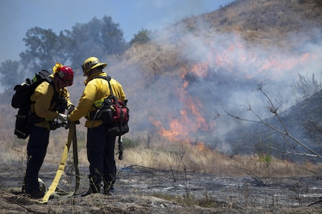 Fire fighters from the surrounding area prepare a hose to fight a fire during fire school on Camp Pendleton, Calif., June 15, 2016. Fire School is run the Camp Pendleton Fire Department to integrate multiple fire departments and develop coordination to better their ability to fight fires together. (U.S. Marine Corps photo by Cpl. Brian Bekkala/MCIWEST-MCB Camp Pen Combat Camera/Released)
