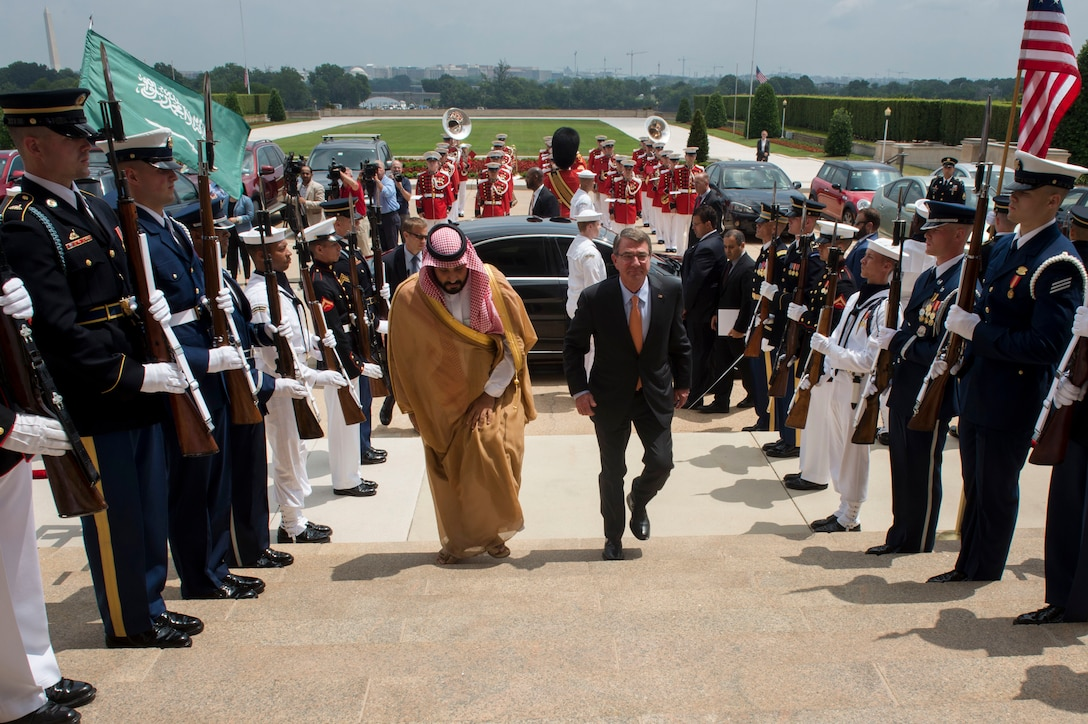 Defense Secretary Ash Carter hosts an enhanced honor cordon to welcome Deputy Crown Prince Mohammed bin Salman, Saudi Arabia's defense minister, to the Pentagon, June 16, 2016. DoD photo by Air Force Senior Master Sgt. Adrian Cadiz