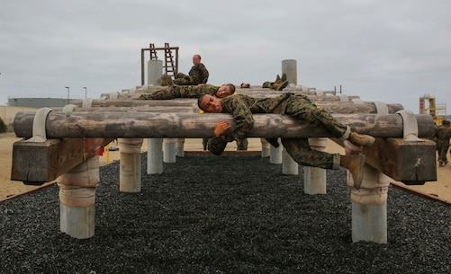 Recruits from Alpha Company, 1st Recruit Training Battalion, navigate through an obstacle during Obstacle Course I at Marine Corps Recruit Depot San Diego, June 13. Recruits must use their strength to navigate over and under the logs while trying to maintain a low profile. Annually, more than 17,000 males recruited from the Western Recruiting Region are trained at MCRD San Diego. Alpha Company is scheduled to graduate Aug. 19.