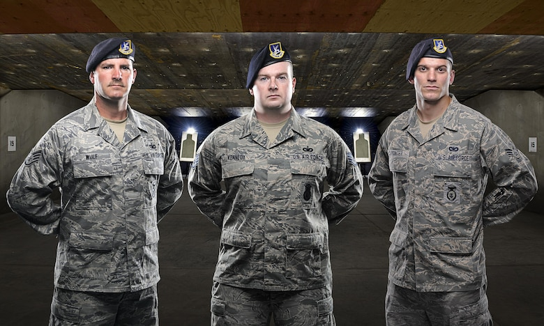 50th Space Wing Security Forces Squadron members former Staff Sgt. Joseph Potalivo (Not pictured), Staff Sgts. James Wulf and Joshua Kennedy, and Senior Airman Brett Pointer were returning from deployments on American Airlines Flight 1506, Feb. 4, 2016, successfully restrained an unruly passenger on a connecting flight from Baltimore Washington International Airport to Dallas/Fort Worth International Airport. (U.S. Air Force photo illustration/Christopher DeWitt)