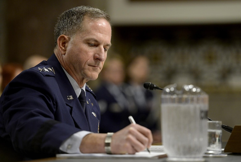 Air Force Vice Chief of Staff Gen. David L. Goldfein testifies before the Senate Armed Services Committee during his confirmation hearing June 16, 2016, in Washington, D.C., following his presidential nomination for the position of the 21st Air Force chief of staff. (U.S. Air Force photo/Scott M. Ash)