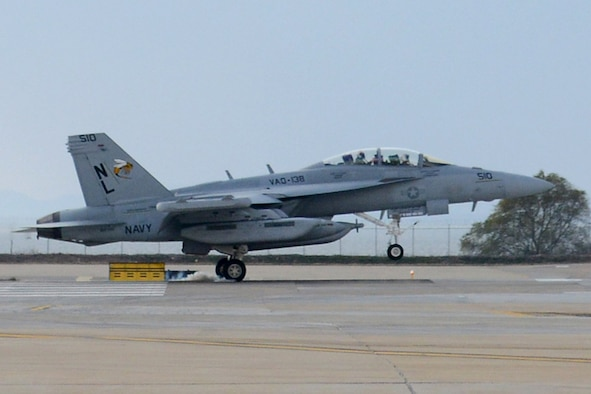 In this file photo, an EA-18G Growler assigned to the Yellow Jackets of Electronic Attack Squadron (VAQ) 138 lands on the runway of Kunsan Air Base, South Korea. (U.S. Navy/MC1 Frank L. Andrews)