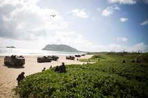 MARINE CORPS BASE HAWAII (July 29, 2014) Amphibious assault vehicles come ashore as part of the final amphibious assault of Rim of the Pacific (RIMPAC) Exercise 2014 at Pyramid Rock Beach. Twenty-two nations, 49 ships and six submarines, more than 200 aircraft and 25,000 personnel are participating in RIMPAC from June 26 to Aug. 1 in and around the Hawaiian Islands and Southern California. The world's largest international maritime exercise, RIMPAC provides a unique training opportunity that helps participants foster and sustain the cooperative relationships that are critical to ensuring the safety of sea lanes and security on the world's oceans. RIMPAC 2014 is the 24th exercise in the series that began in 1971.