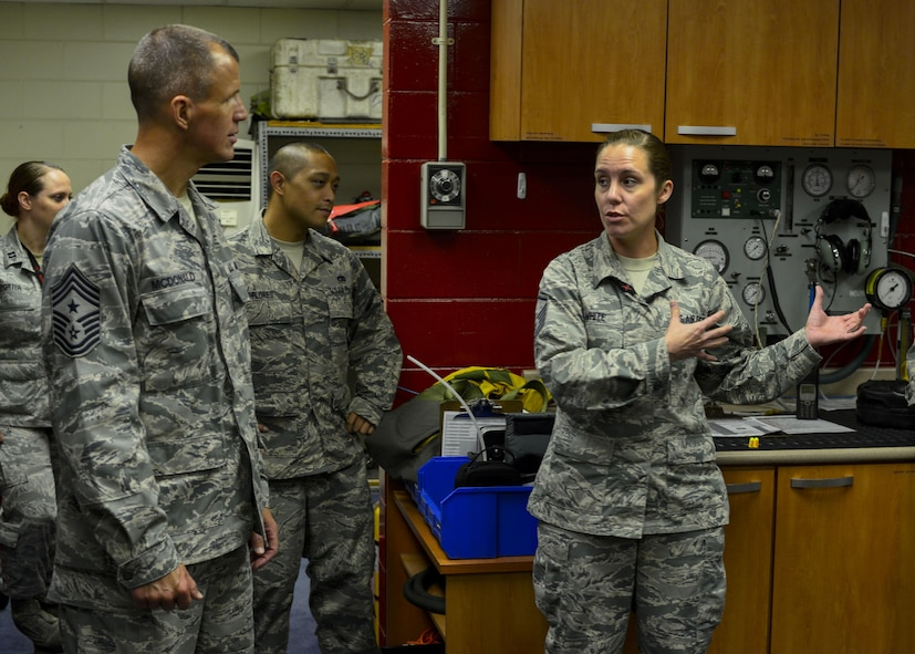 Master Sgt. Amanda White, right, 5th Reconnaissance Squadron aircrew flight equipment supervisor, explains her section's responsibilities in preparing U-2 Dragon Lady pilots for a flight to Chief Master Sgt. Steve McDonald, Air Combat Command command chief, at Osan Air Base, Republic of Korea, June 16, 2016. The AFE Airmen help U-2 pilots put on their pressurized flight suit, connect them to an oxygen machine and run a pressurization test to ensure there are no malfunctions that could cause an in-flight emergency. (U.S. Air Force photo by Senior Airman Victor J. Caputo/Released)