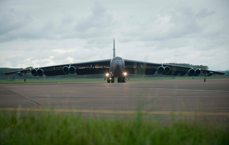 A B-52H Stratofortress from Minot Air Force Base, N.D., taxis to a parking spot at RAF Fairford, United Kingdom, after its first Saber Strike 16 mission June 13, 2016. Saber Strike 16 serves as an effective proving ground for participating units to validate their ability to assemble rapid-reaction forces and deploy them throughout Eastern Europe on short notice. The exercise trains participants on command and control as well as interoperability with regional allies and partners. (U.S. Air Force photo/Senior Airman Sahara L. Fales)