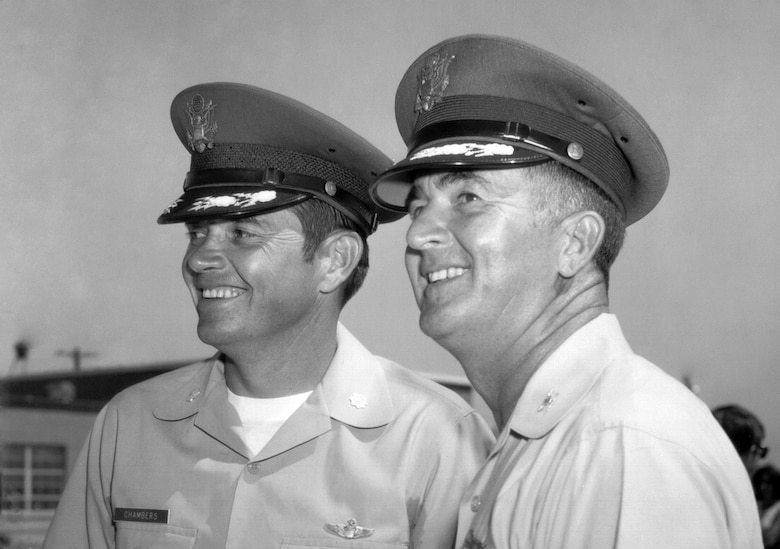 Maj. Gen. Donald E. Morris (right) pictured here when he was a colonel and the commander of the Tucson unit. Maj. Gen. Wess P. Chambers (left) was Morris' vice commander and later served as the group's second commander. (U.S. Air National Guard photo)