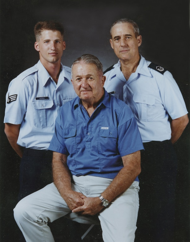 Maj. Gen. Donald E. Morris pictured here with his son Don Morris Jr. and his grandson John Morris. Both his son and grandson served at the 162nd as many other Tucson families have joined and served the Guard family. (U.S. Air National Guard photo)