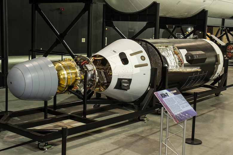DAYTON, Ohio -- Gambit 1 KH-7 reconnaissance satellite in the Space Gallery at the National Museum of the U.S. Air Force. (U.S. Air Force Photo)