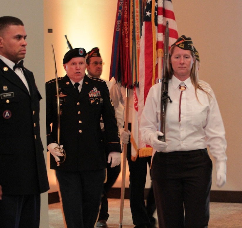 Posting of the Colors during the 76th ORC's Utah Army Ball in celebration of the United States Army's 241st birthday, held at the Living Planet Aquarium, Salt Lake City, June 11.
