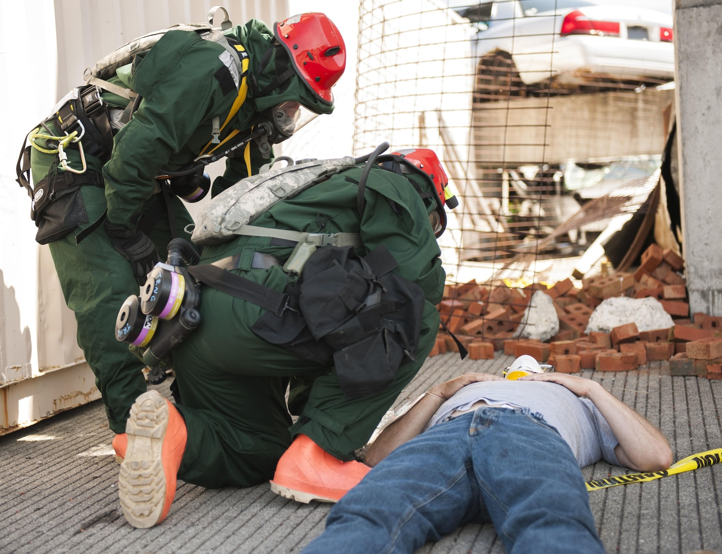 Members of the New York  Army National Guard train as a rope rescue team assisting a simulated disaster victim at the State Preparedness Training Center in Oriskany NY on June 16, 2016.  This was part of a training scenario hosted by the training center preparing members of New York's Homeland Response Force team made up of New York Air and Army National Guard members and civilians.