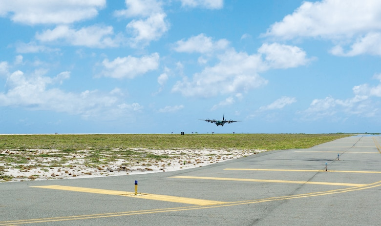A Republic of Korea Air Force C-130J Super Hercules lands at Wake Island Airfield in the mid-Pacific June 3, 2016. The airfield supports an average of 600 aircraft sorties annually, many of them cross-Pacific missions for propeller-driven aircraft from all branches of the U.S. military and its allied partners. Wake Island is more than 600 miles from the next-closest runway in the Pacific.