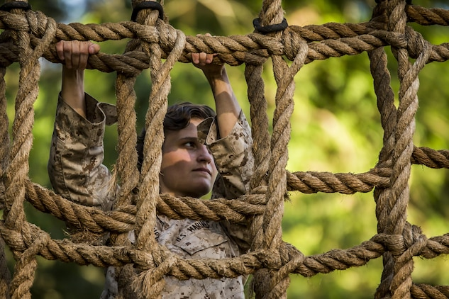 A Marine climbs a rope at the confidence course on Marine Corps Recruit Depot Parris Island during a physical training event June 9. The Provost Marshal's Office coordinated the event to challenge the Marines physically, build camaraderie, and promote teamwork. Marines from every section of PMO participated in the event. The Marine is with PMO, Marine Corps Air Station Beaufort.
