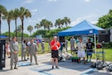 Stu Smith, Cocoa Beach Regional Chamber of Commerce Military Affairs Council chair; thanks each branch of the military service during the 28th annual Junior Enlisted Appreciation Picnic June 17, 2016, at Patrick Air Force Base, Fla. The MAC is an all-volunteer group of the Chamber Partners from the local Space Coast area, both military and civilian, who work together to better both communities. (U.S. Air Force photo/Matthew S. Jurgens/Released)