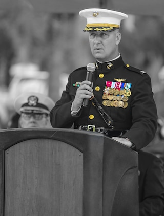 Col. Peter D. Buck delivers his remarks during Memorial Day Ceremony at the Beaufort National Cemetery, May 30. Service members from Marine Corps Recruit Depot, Marine Corps Air Station Beaufort, and 6th Marine Corps District participated in the City of Beaufort's Annual Memorial Day Parade and remembrance ceremony. Service members greeted members of the public during parade and paid respects to the fallen troops during the ceremony at Beaufort National Cemetery. Buck is the commanding officer of MCAS Beaufort.
