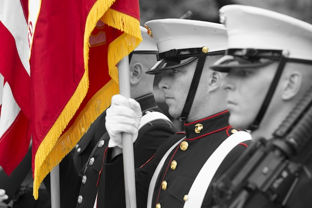 A Marine Corps color guard marches during the Memorial Day Parade in downtown Beaufort May 30. Marines from Marine Corps Recruit Depot, Marine Corps Air Station Beaufort, and 6th Marine Corps District participated in the Memorial Day Parade and remembrance ceremony.