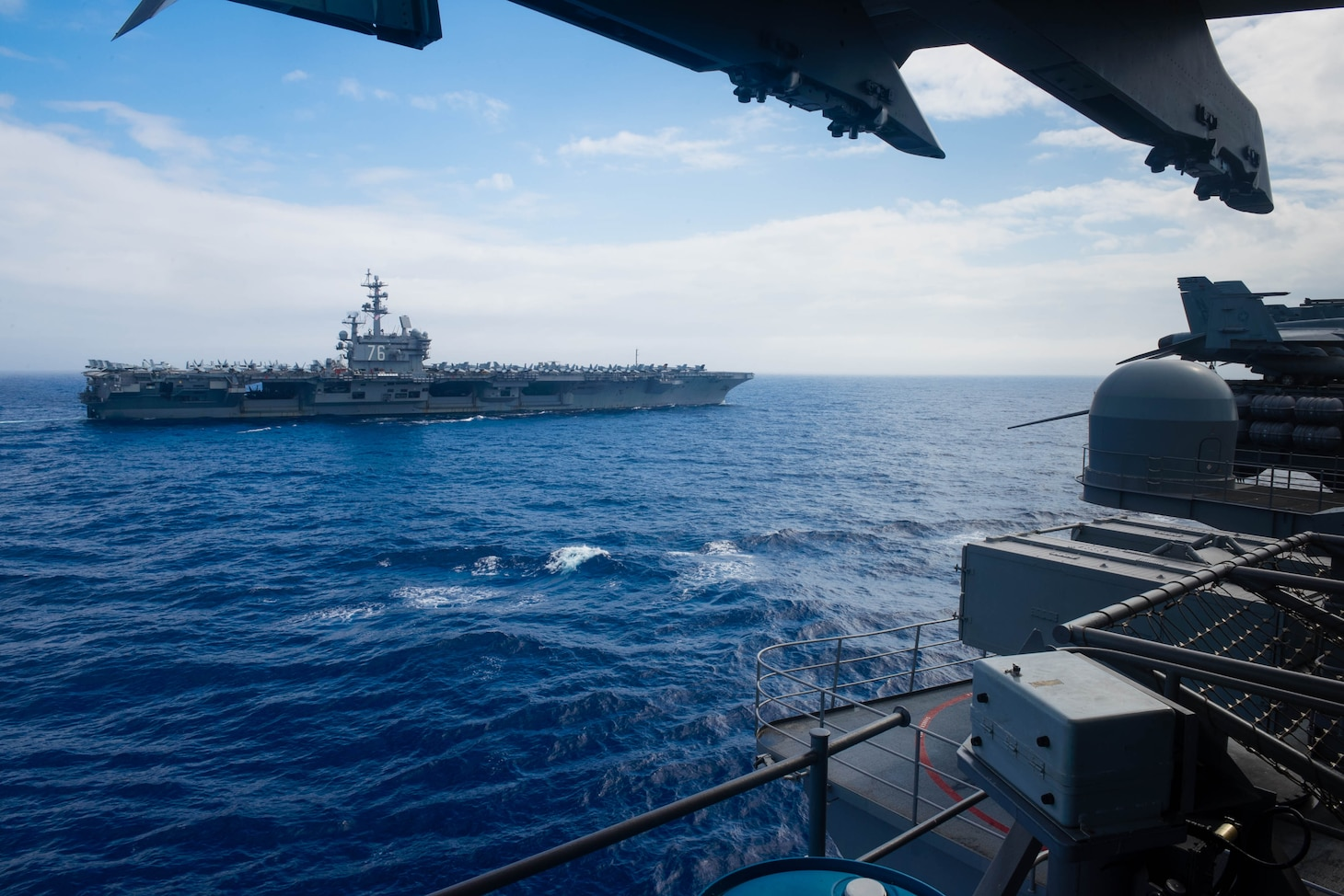PHILIPPINE SEA (June 18, 2016) - The Nimitz-class aircraft carriers USS John C. Stennis (CVN 74) and USS Ronald Reagan (CVN 76) conduct dual carrier strike group operations in the U.S. 7th Fleet area of operations in support of security and stability in the Indo-Asia-Pacific. The operations mark the U.S. Navy's continued presence throughout the area of responsibility. (U.S. Navy photo by Mass Communication Specialist 3rd Class Kenneth Rodriguez Santiago / Released)