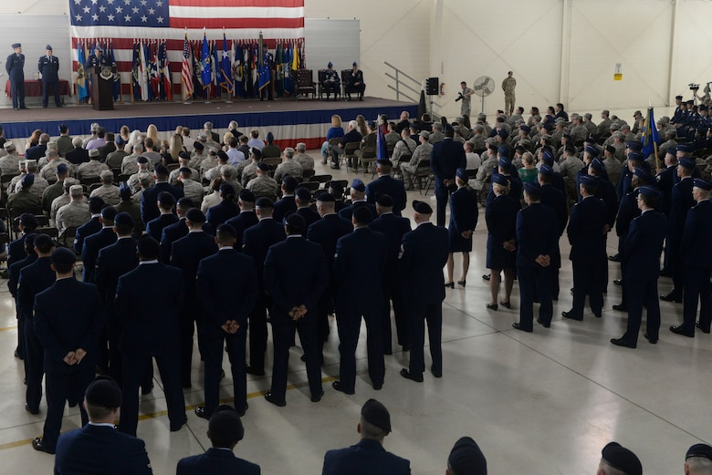 Members from the 91st Missile Wing and the 5th Bomb Wing at Minot Air Force Base, N.D., gather in the Defender Dome to celebrate the 91st MW change of command ceremony June 17, 2016. Col. Colin Connor accepted command of the 91st MW from Col. Michael Lutton. (U.S. Air Force photo/Airman 1st Class Jessica Weissman)