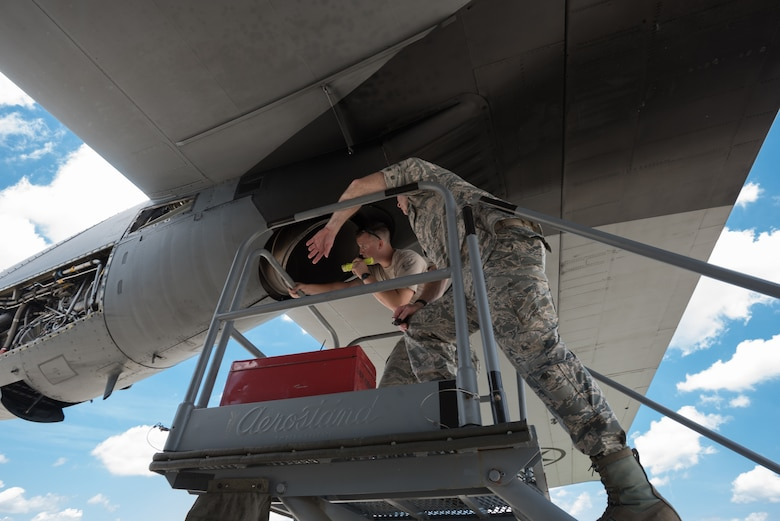 U.S. Air Force Senior Airman Jacob Wilder, a crew chief from the Kentucky Air National Guard's 123rd Airlift Wing, inspects an exhaust port on a C-130 Hercules aircraft at the Air National Guard's Air Dominance Center in Savannah, Ga., June 15, 2016. Wilder is attending Maintenance University here, a weeklong course designed to provide intensive instruction in aircraft maintenance. Now in its eighth year, Maintenance University is sponsored by the 123rd Airlift Wing. (U.S. Air National Guard photo by Lt. Col. Dale Greer)