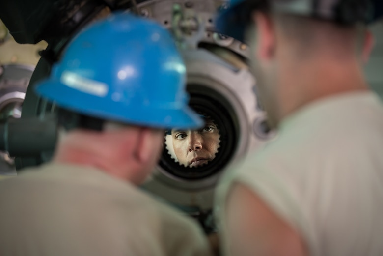 U.S. Air Force Staff Sgt. Dustin Harrison, a propulsion mechanic from the Kentucky Air National Guard's 123rd Airlift Wing, inspects the hub of a C-130 propeller at the Air National Guard's Air Dominance Center in Savannah, Ga., June 15, 2016. Harrison is attending Maintenance University here, a weeklong course designed to provide intensive instruction in aircraft maintenance. Now in its eighth year, Maintenance University is sponsored by the 123rd Airlift Wing. (U.S. Air National Guard photo by Lt. Col. Dale Greer)