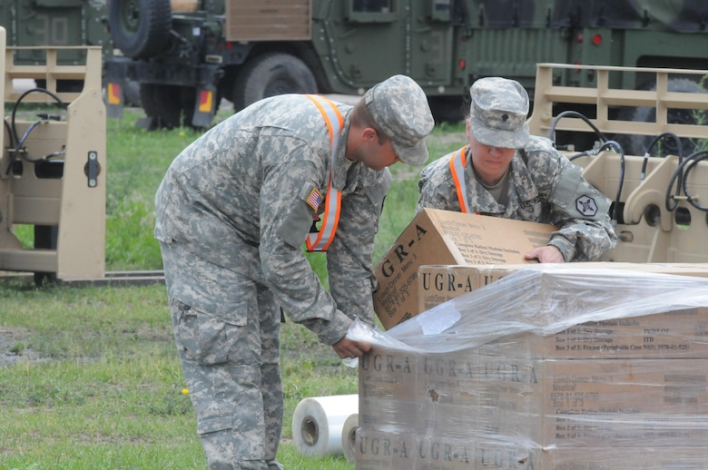 Soldiers in the 483rd Quartermaster Company work in their supply yard near Drawsko Pomorskie, Poland June 1 while supporting more than 12,000 U.S. service members deployed to Poland for Anakonda 16.