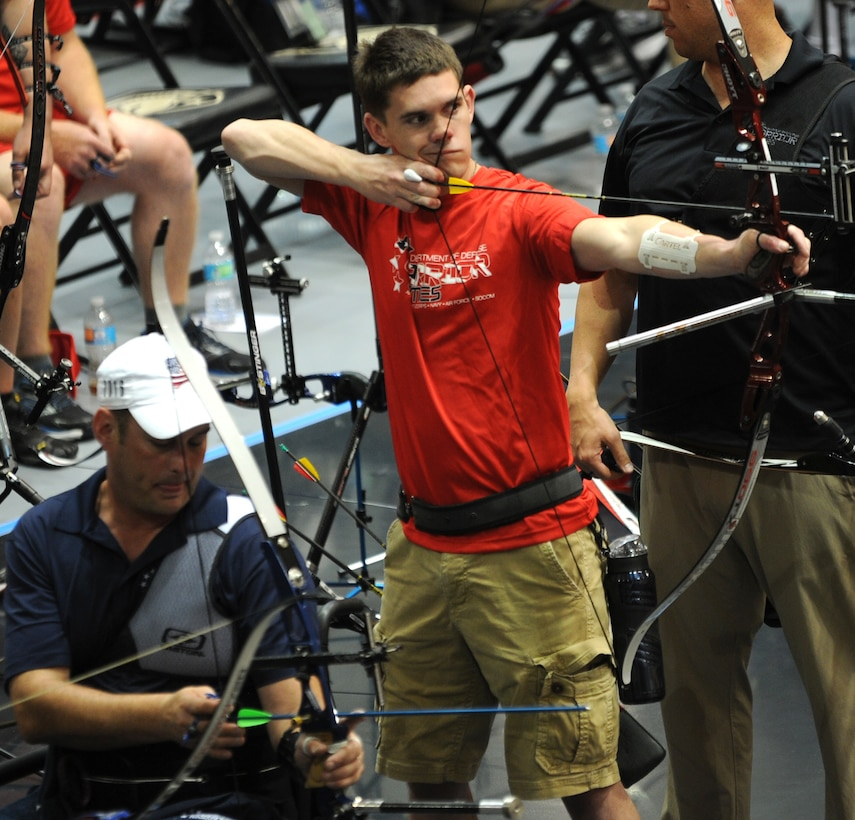 The 2016 DoD Warrior Games includes archery, both recurve bow, seen here on June 17, and compound bow. The Games, running from June 15-21,  are a Paralympic-type event for wounded, ill and injured personnel from the military representing all four U.S. Services, Special Operations Command and the United Kingdom. This year's competition is being held at the U.S. Military Academy at West Point, N.Y.