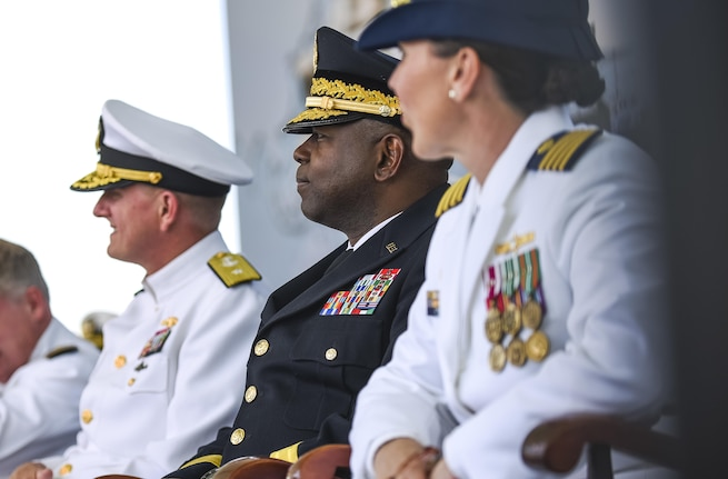 Maj. Gen. Phillip Churn, commanding general of the 200th Military Police Command, U.S. Army Reserve, a native of Washington, D.C., sits among the official party during the U.S. Merchant Marine Academy graduation ceremony in Kings Point, New York, June 18. The 2016 graduating class included 229 senior midshipmen, each earning a Bachelor of Science degree, a direct commission into the armed forces and a U.S. Coast Guard license. (U.S. Army photo by Master Sgt. Michel Sauret)