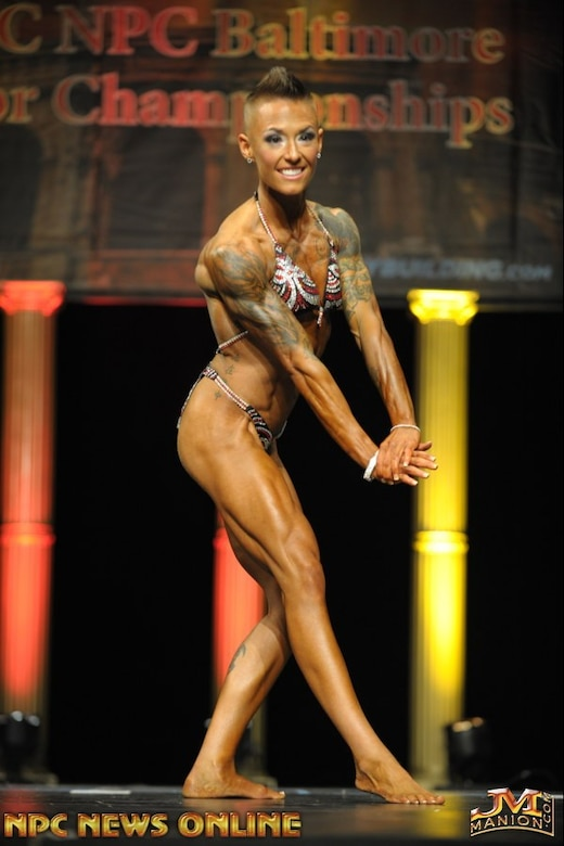 Katherine Althoff, 707th Force Support Squadron Executive Assistant to the Director, Joint Military Personnel, poses during the National Physique Committee Baltimore Gladiator, March 19, 2016. Althoff, in her first show, took 1st place in both the Women's Physique Open and Women's Physique Armed Forces Categories. (Courtesy photo)