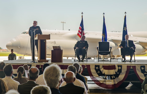 "Col. Thomas K. Smith Jr., 433rd Airlift Wing commander, addresses the crowd during the C-5M Super Galaxy transfer ceremony June 17, 2016 along the flight line of Joint Base San Antonio-Lackland, Texas. Colonel Smith boarded the aircraft bound for the ceremony from Stewart Air National Guard Base, New York, that morning. It is the only C-5M to be bestowed as ""The City of San Antonio."" (U.S. Air Force photo by Benjamin Faske)"