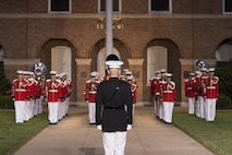 Marines from Marine Barracks Washington, D.C., perform during the Friday Evening Parade, Jun. 17, 2016. The guest of honor for the parade was the Gen. Mark A. Welsh III, chief of staff of the United States Air Force, and the hosting official was Gen. Robert B. Neller, commandant of the Marine Corps. (Official Marine Corps photo by Staff Sgt. Michael Coleman/Released)