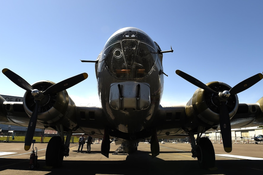 A B-17 Flying Fortress is parked on the ramp at the Museum of Flight in Seattle, Wash., June 6, 2016. This B-17 was restored by the Experimental Aircraft Association and was brought to Seattle to make it available for public flights throughout the summer. (U.S Air Force photo/ Tech. Sgt. Tim Chacon)