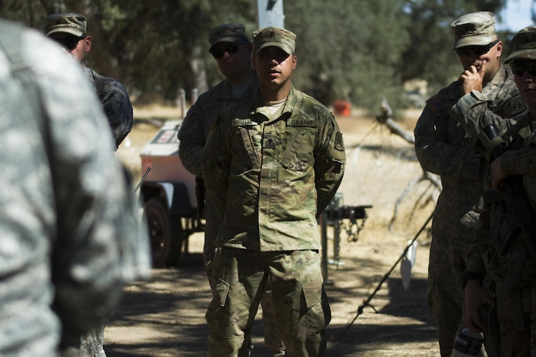 Spc. Anothony Borella, U.S. Army Reserve military police Soldier from the 812th Military Police Company, of Mahopac, New York, provides feedback during an after action review during the Combat Support Training Exercise (CSTX) on 18 June at Fort Hunter-Liggett, California. 54 units from across the U.S. Army Reserve, National Guard, Active Army, U.S. Air Force, U.S. Navy, and Canadian Army participate in the 84th Training Command's second Combat Support Training Exercise (CSTX) of the year, CSTX 91-16-02, hosted by the 91st Training Division. (Photos by Spc. Victoria Friend)