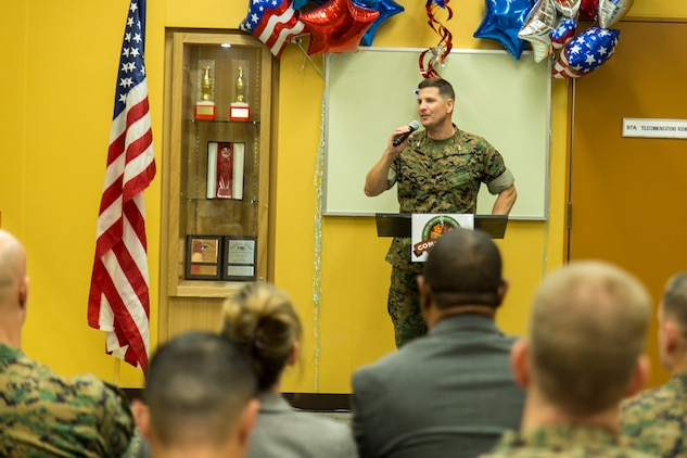 U.S. Marine Corps Col. Robert V. Boucher, station commanding officer, gives his opening remarks during the grand opening ceremony for the new commissary on Marine Corps Air Station Iwakuni, Japan, June 21, 2016. In 1989, the former commissary opened with just 33,400 total square feet, a sales floor of 13,400 square feet, only four serviced and two self-checkout stands, and a stock of 9,000 items. Designed to anticipate and meet the needs of shoppers, the new grocery store is approximately 50 percent larger, with 52,710 total square feet and is located between the Kintai Inn and Kawashimo housing area.  (U.S. Marine Corps photo by Lance Cpl. Aaron Henson/Released)