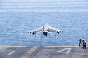 ARABIAN GULF (June 16, 2016) An AV-8B Harrier II assigned to the 13th Marine Expeditionary Unit (MEU) launches from the amphibious assault ship USS Boxer (LHD 4) to conduct missions in support of Operation Inherent Resolve. Boxer is the flagship for the Boxer Amphibious Ready Group and, with the embarked 13th MEU, is deployed in support of maritime security operations and theater cooperation efforts in the U.S. 5th Fleet area of operations.
