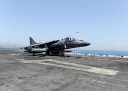 160616-N-VD165-057 ARABIAN GULF (June 16, 2016) An AV-8B Harrier II assigned to 13th Marine Expeditionary Unit (13th MEU) launches from the amphibious assault ship USS Boxer (LHD 4) to conduct missions in support of Operation Inherent Resolve. Boxer is the flagship for the Boxer Amphibious Ready Group and, with the embarked 13th Marine Expeditionary Unit, is deployed in support of maritime security operations and theater security cooperation efforts in the U.S. 5th Fleet area of operations.