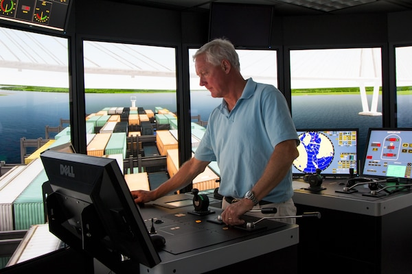 The Charleston District conducted ship simulations at the Engineer Research and Development Center in Vicksburg, Miss. The simulations test the conditions of the current design for the Post 45 harbor deepening project to finalize plans for the future of the harbor.