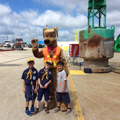 Bobber the Water Safety Dog appeared at Coast Guard Sector Charleston's National Safe Boating Week kickoff event, where he spread the word to children about wearing their life jackets.
