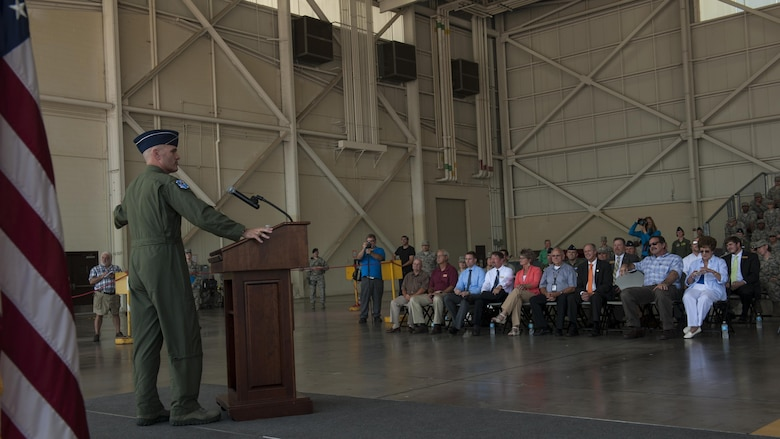 U.S. Air Force Gen. Carlton D. Everhart II, Air Mobility Command commander, speaks to Airmen from the 19th Airlift Wing during an aircraft delivery ceremony at Little Rock Air Force Base, Ark., June 20, 2016. Everhart delivered the last C-130J to the 19th Airlift Wing. (U.S. Air Force photo/Senior Airman Harry Brexel)