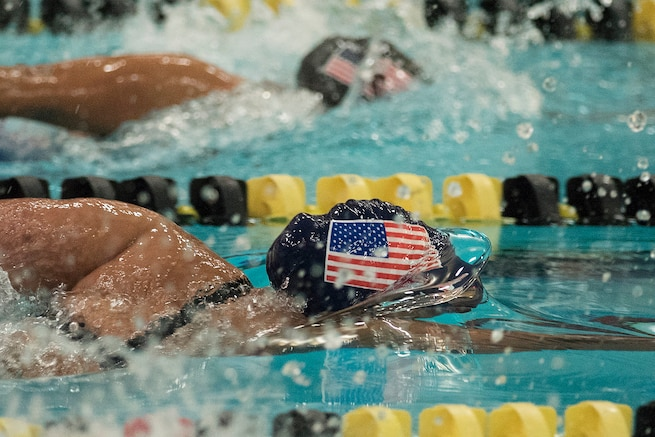 Army Reservist Sgt. Kawaiola Nahale competes in swimming during the 2016 Department of Defense Warrior Games at the U.S. Military Academy in West Point, New York, June 20, 2016. DoD photo by Roger Wollenberg