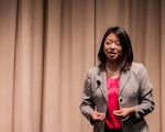 """Tiffany Chang Lawson, executive director of Pa. Governor Tom Wolf's Advisory Commission on Asian Pacific American Affairs, explains the """"Model Minority Myth"""" to DLA Distribution employees during a late May Asian Pacific American Heritage Month Program."""